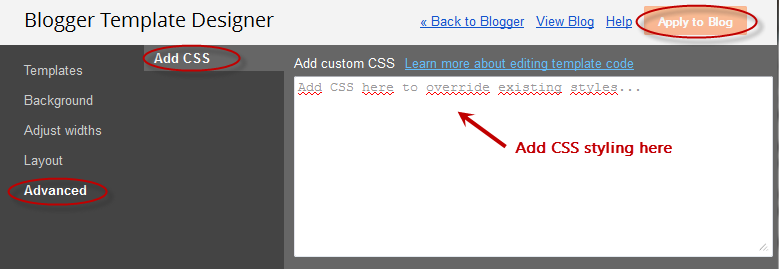 template for blogger html code - adding css via the blogger template designer cloud media